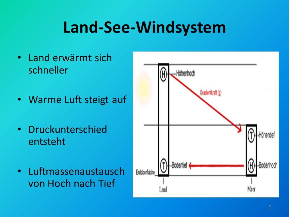Land-See-Windsystem Land erwärmt sich schneller Warme Luft steigt auf