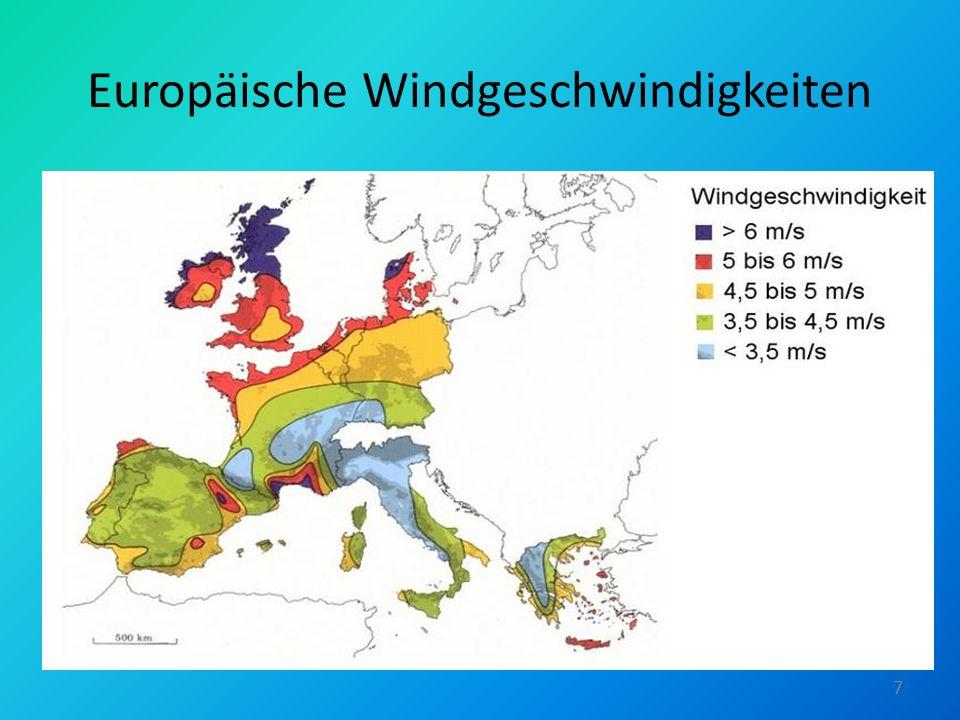 Europäische Windgeschwindigkeiten