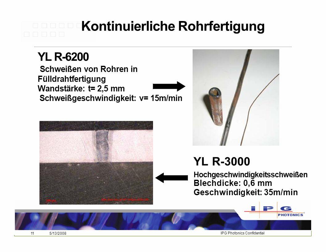 Kontinuierliche Rohrfertigung Schweißgeschwindigkeit: v= 15m/min