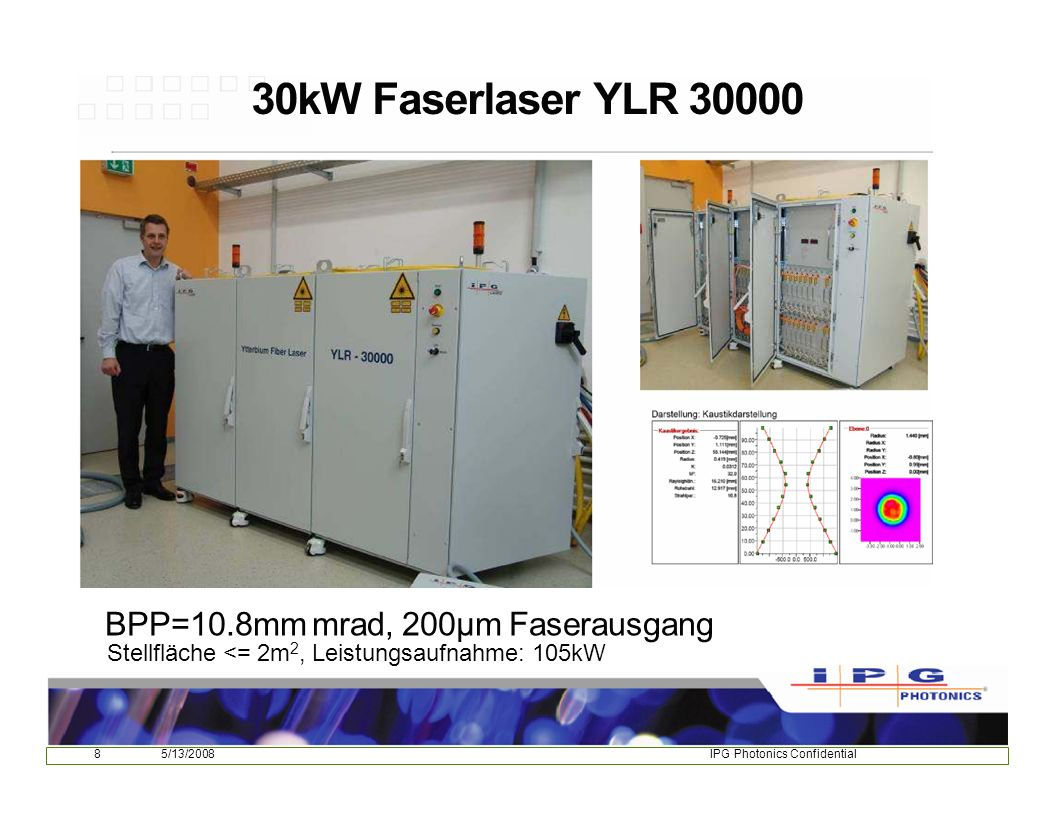 30kW Faserlaser YLR 30000 BPP=10.8mm mrad, 200µm Faserausgang