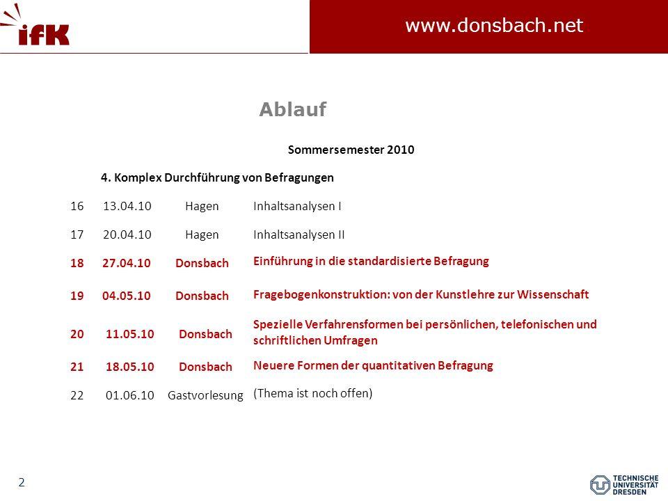 Ablauf Sommersemester 2010 4. Komplex Durchführung von Befragungen 16