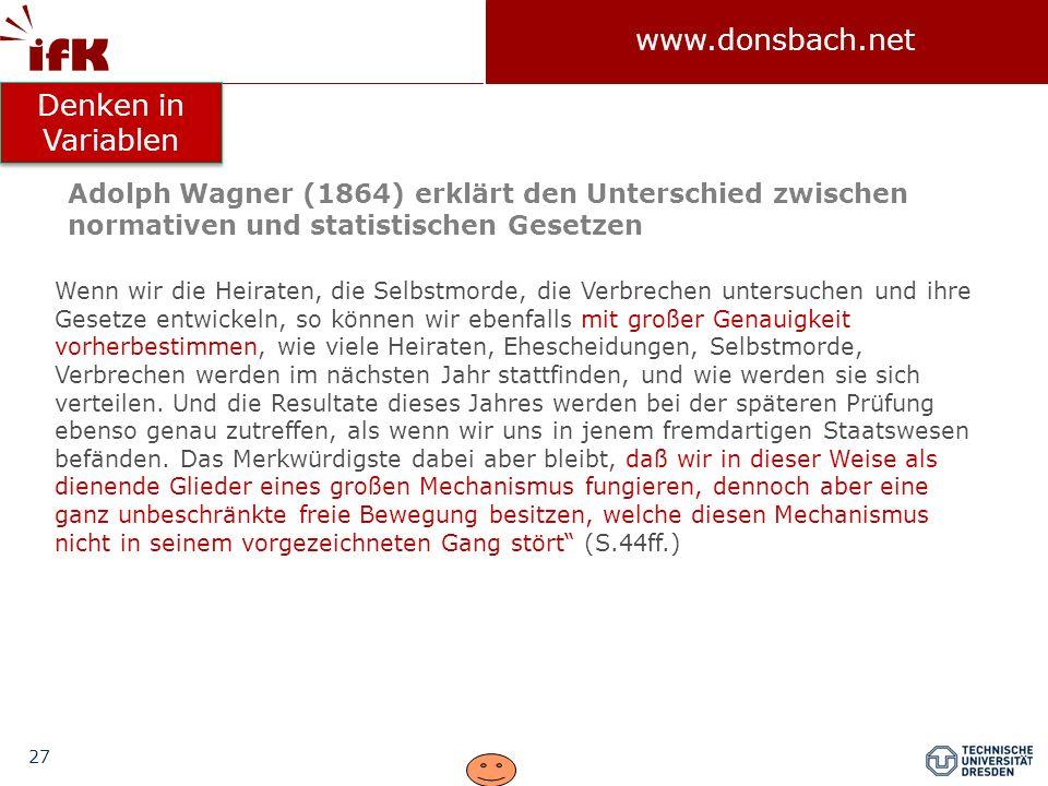Denken in Variablen Adolph Wagner (1864) erklärt den Unterschied zwischen normativen und statistischen Gesetzen.