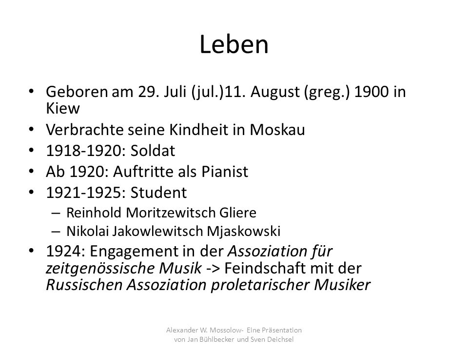 Leben Geboren am 29. Juli (jul.)11. August (greg.) 1900 in Kiew