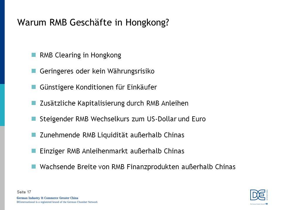 Warum RMB Geschäfte in Hongkong