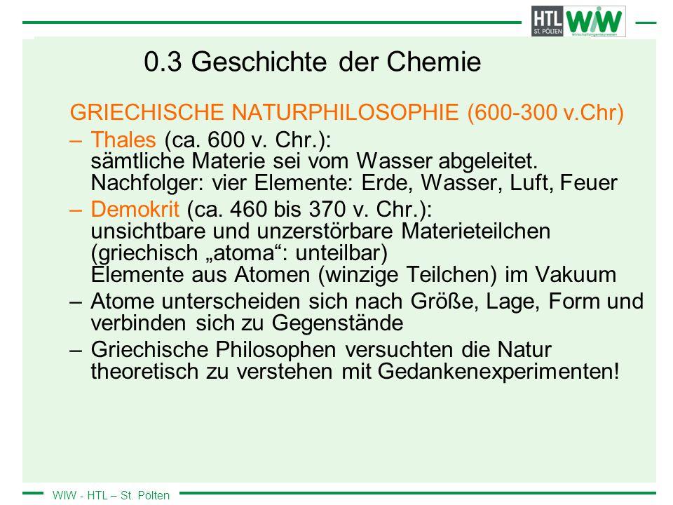 0.3 Geschichte der Chemie GRIECHISCHE NATURPHILOSOPHIE (600-300 v.Chr)