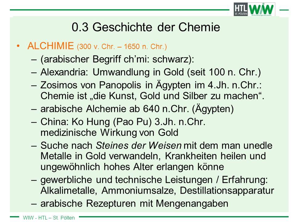 0.3 Geschichte der Chemie ALCHIMIE (300 v. Chr. – 1650 n. Chr.)