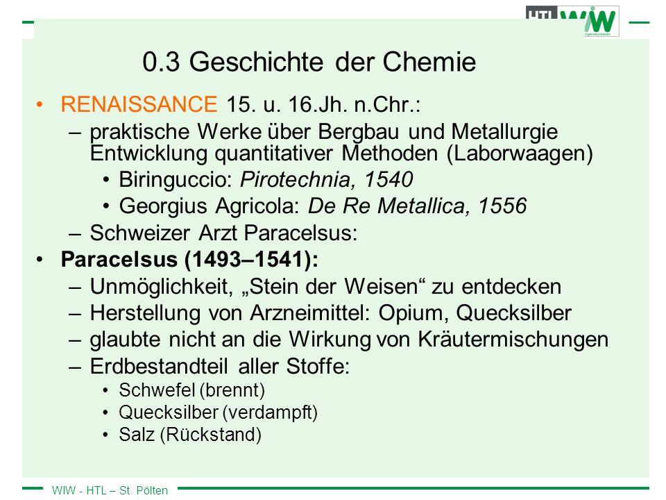 0.3 Geschichte der Chemie RENAISSANCE 15. u. 16.Jh. n.Chr.:
