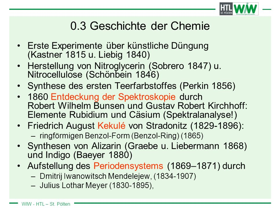 0.3 Geschichte der Chemie Erste Experimente über künstliche Düngung (Kastner 1815 u. Liebig 1840)