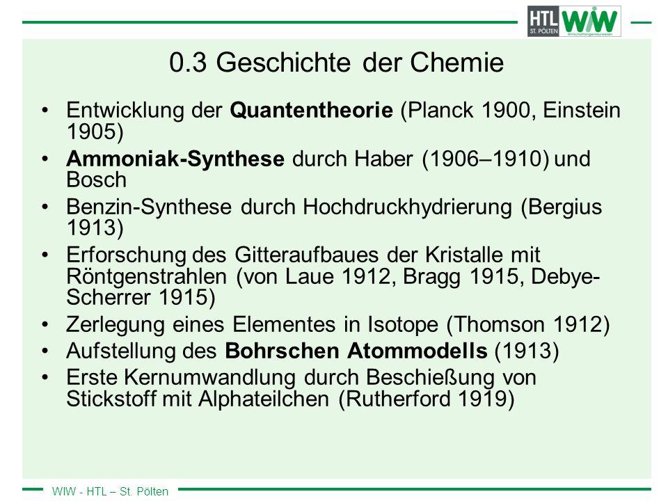 0.3 Geschichte der Chemie Entwicklung der Quantentheorie (Planck 1900, Einstein 1905) Ammoniak-Synthese durch Haber (1906–1910) und Bosch.