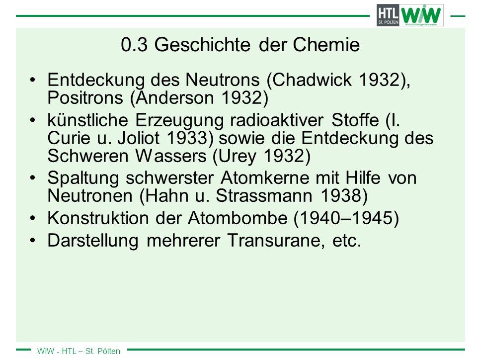 0.3 Geschichte der Chemie Entdeckung des Neutrons (Chadwick 1932), Positrons (Anderson 1932)