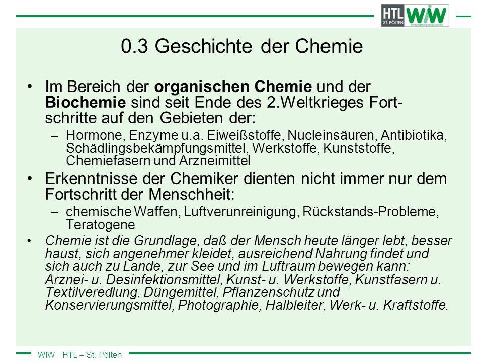 0.3 Geschichte der Chemie Im Bereich der organischen Chemie und der Biochemie sind seit Ende des 2.Weltkrieges Fort-schritte auf den Gebieten der:
