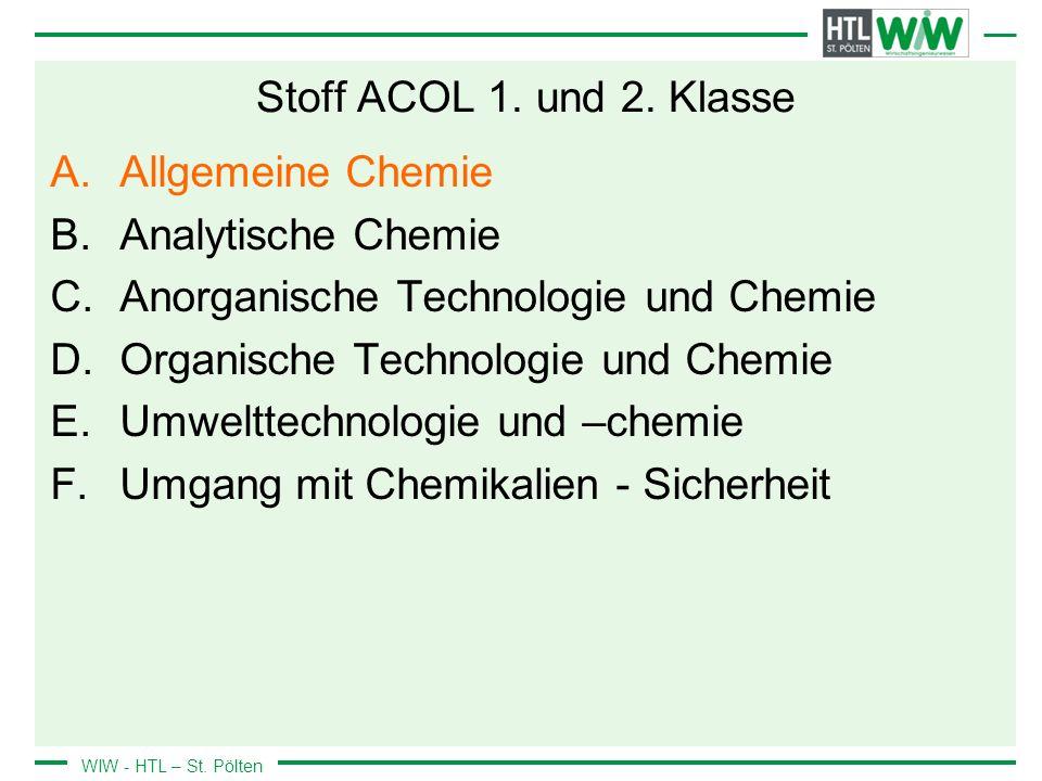 Stoff ACOL 1. und 2. Klasse