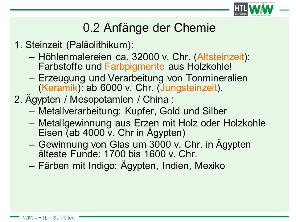 0.2 Anfänge der Chemie Steinzeit (Paläolithikum):