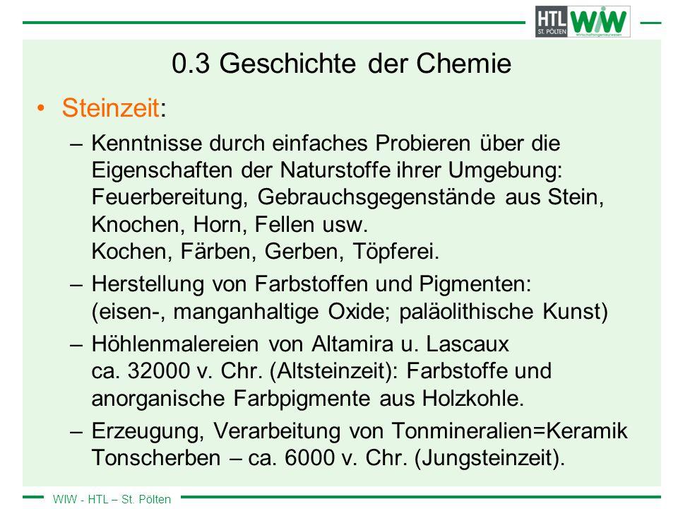 0.3 Geschichte der Chemie Steinzeit: