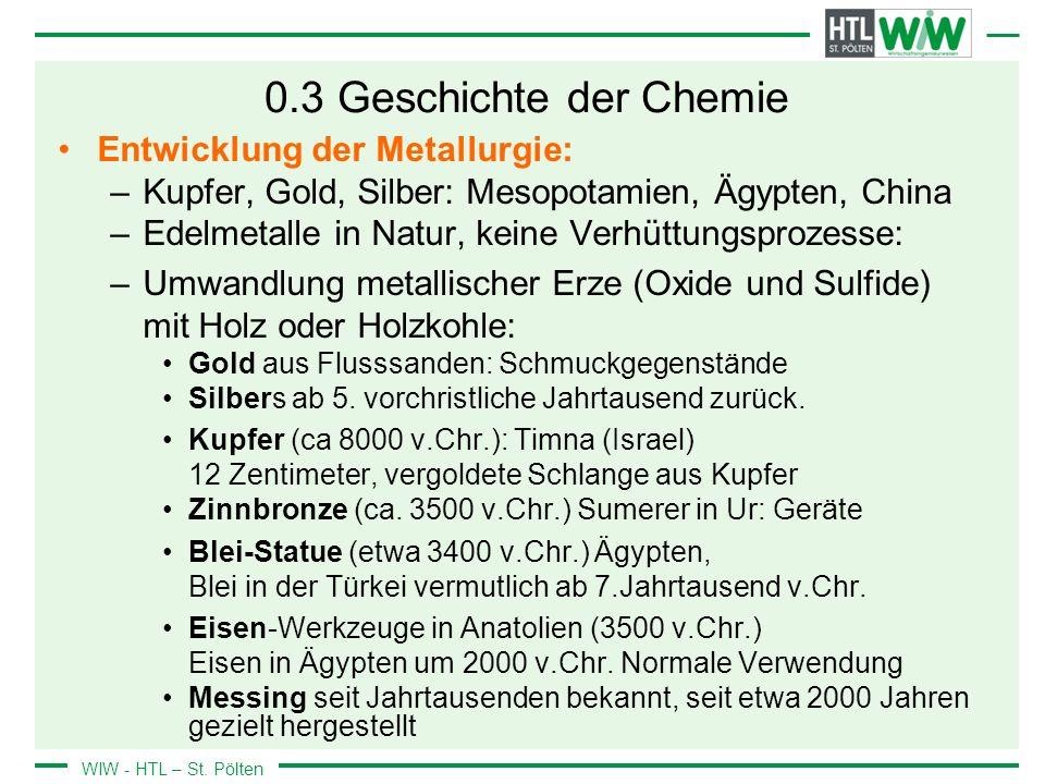 0.3 Geschichte der Chemie Entwicklung der Metallurgie: