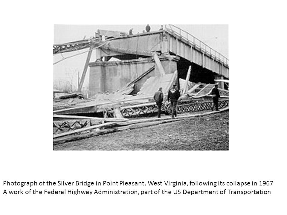 Photograph of the Silver Bridge in Point Pleasant, West Virginia, following its collapse in 1967