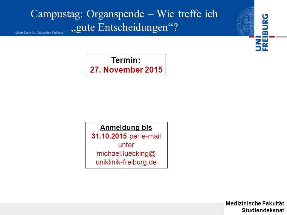 """Campustag: Organspende – Wie treffe ich """"gute Entscheidungen"""