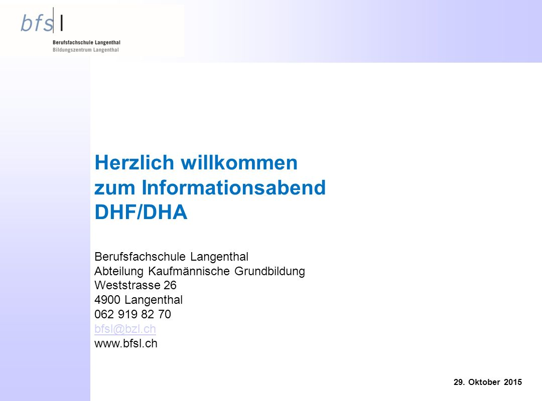 zum Informationsabend DHF/DHA