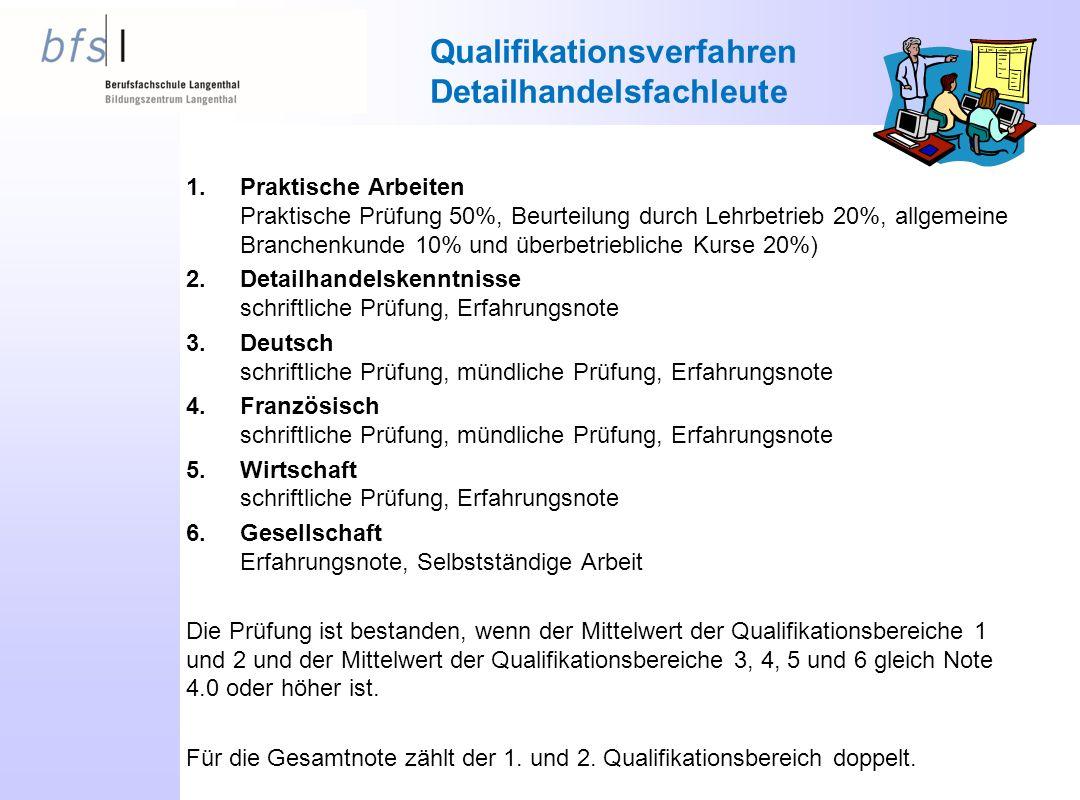 Qualifikationsverfahren Detailhandelsfachleute