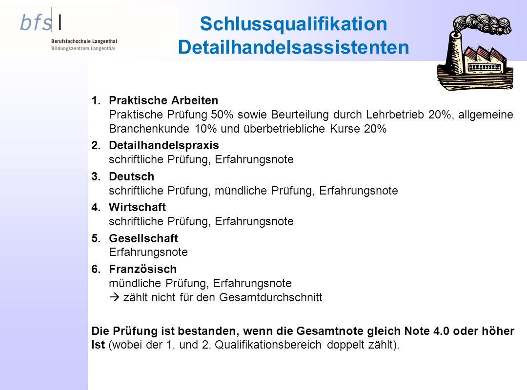 Schlussqualifikation Detailhandelsassistenten
