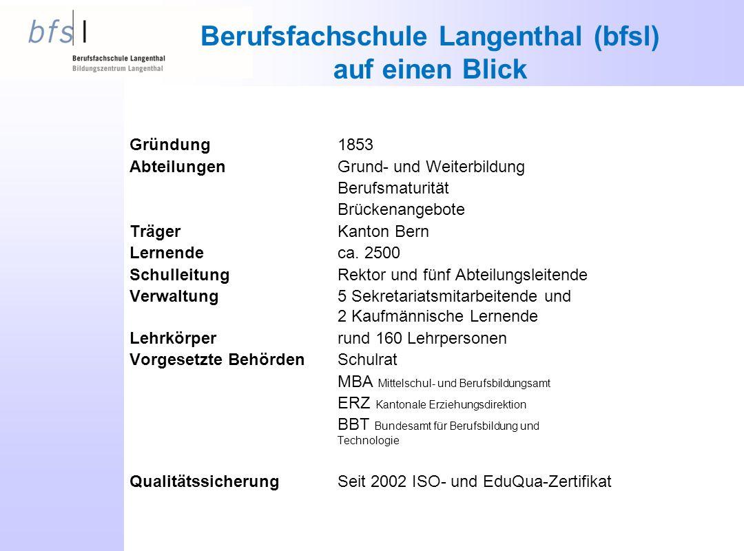Berufsfachschule Langenthal (bfsl) auf einen Blick