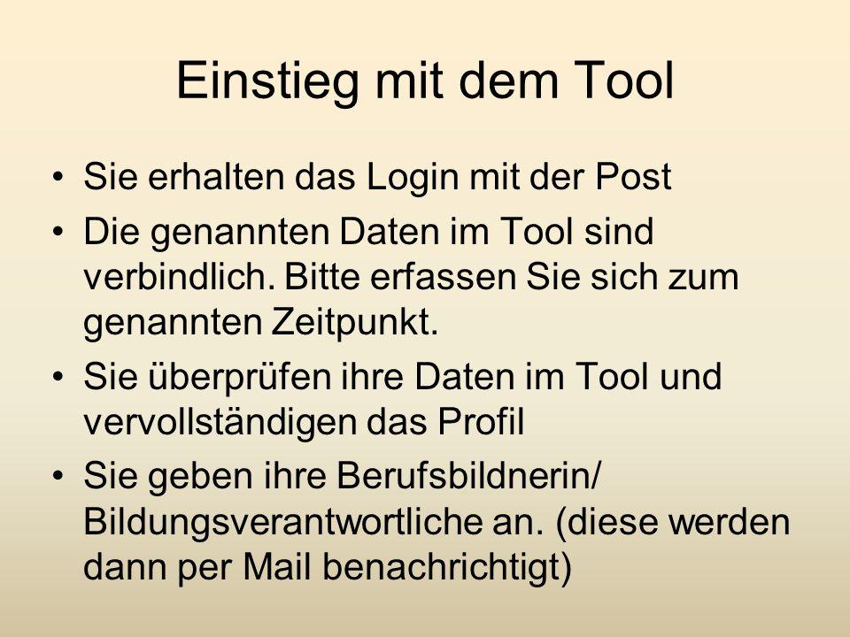 Einstieg mit dem Tool Sie erhalten das Login mit der Post