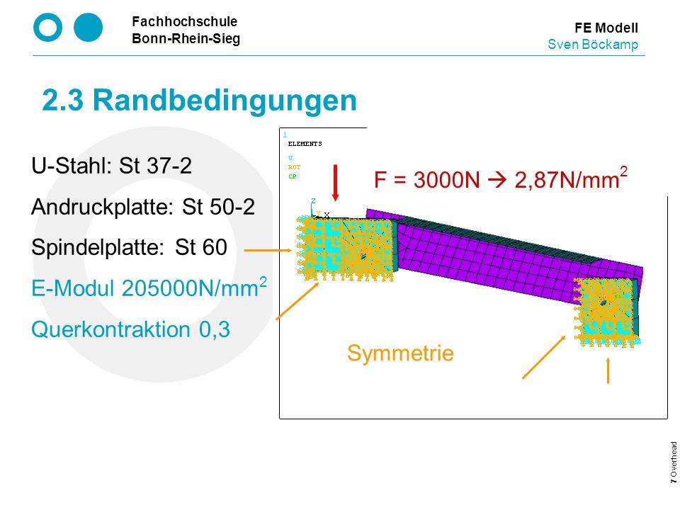2.3 Randbedingungen F = 3000N  2,87N/mm2 U-Stahl: St 37-2