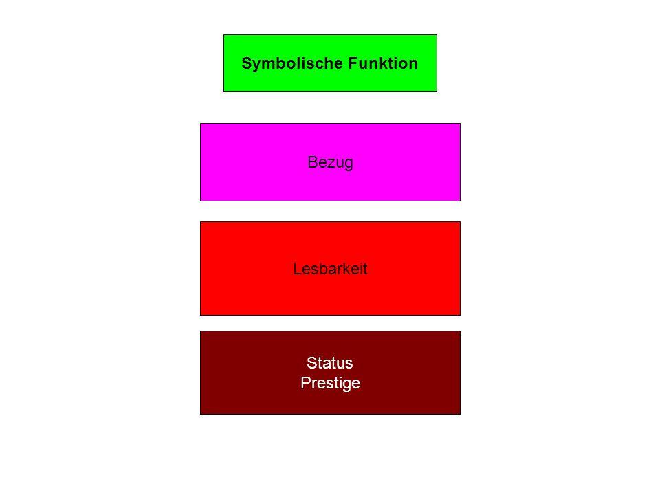 Symbolische Funktion Bezug Lesbarkeit Status Prestige