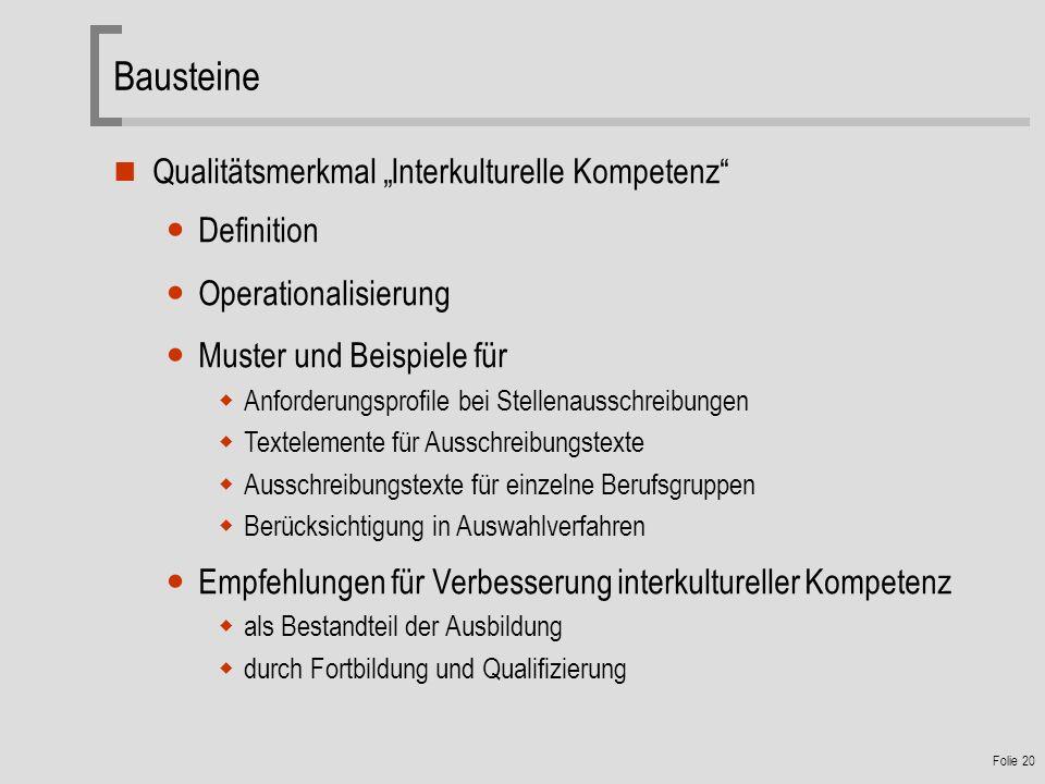 """Bausteine Qualitätsmerkmal """"Interkulturelle Kompetenz Definition"""