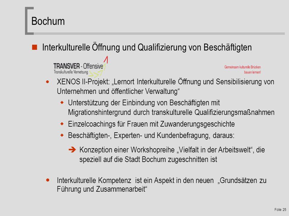 Bochum Interkulturelle Öffnung und Qualifizierung von Beschäftigten