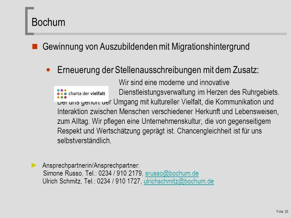 Bochum Gewinnung von Auszubildenden mit Migrationshintergrund