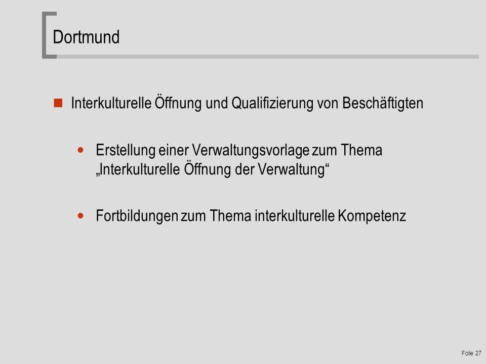 Dortmund Interkulturelle Öffnung und Qualifizierung von Beschäftigten
