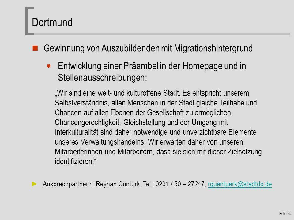 Dortmund Gewinnung von Auszubildenden mit Migrationshintergrund