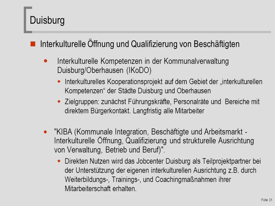 Duisburg Interkulturelle Öffnung und Qualifizierung von Beschäftigten