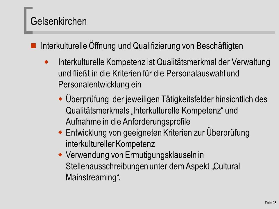 Gelsenkirchen Interkulturelle Öffnung und Qualifizierung von Beschäftigten.