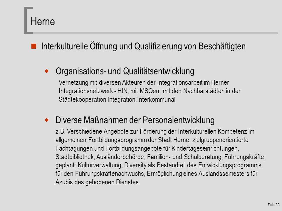 Herne Interkulturelle Öffnung und Qualifizierung von Beschäftigten