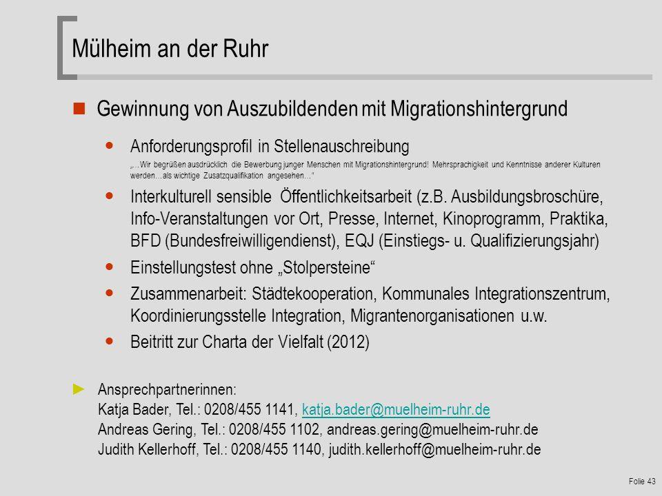 Mülheim an der Ruhr Gewinnung von Auszubildenden mit Migrationshintergrund. Anforderungsprofil in Stellenauschreibung.