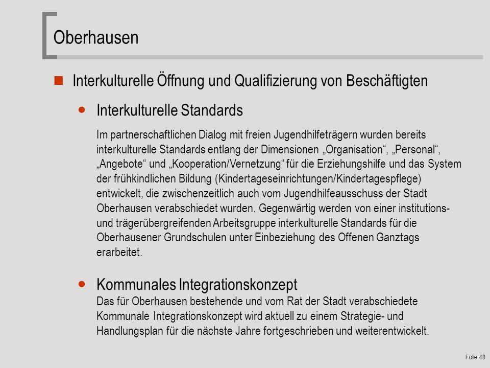 Oberhausen Interkulturelle Öffnung und Qualifizierung von Beschäftigten. Interkulturelle Standards.