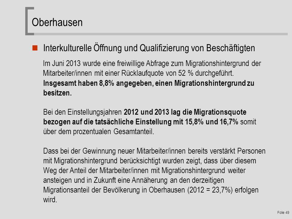 Oberhausen Interkulturelle Öffnung und Qualifizierung von Beschäftigten.