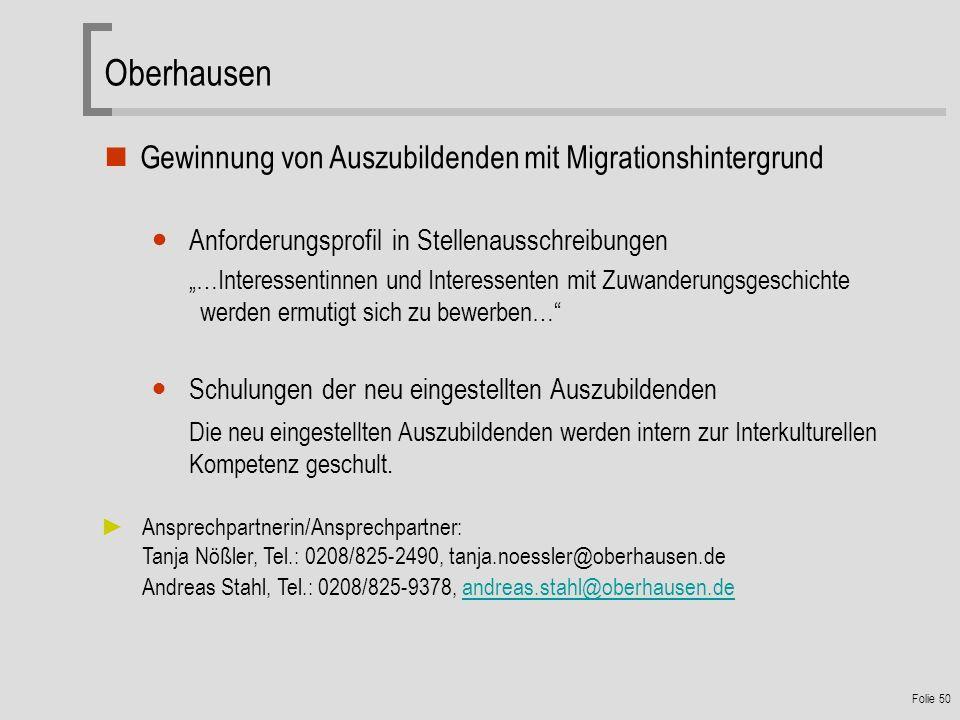 Oberhausen Gewinnung von Auszubildenden mit Migrationshintergrund