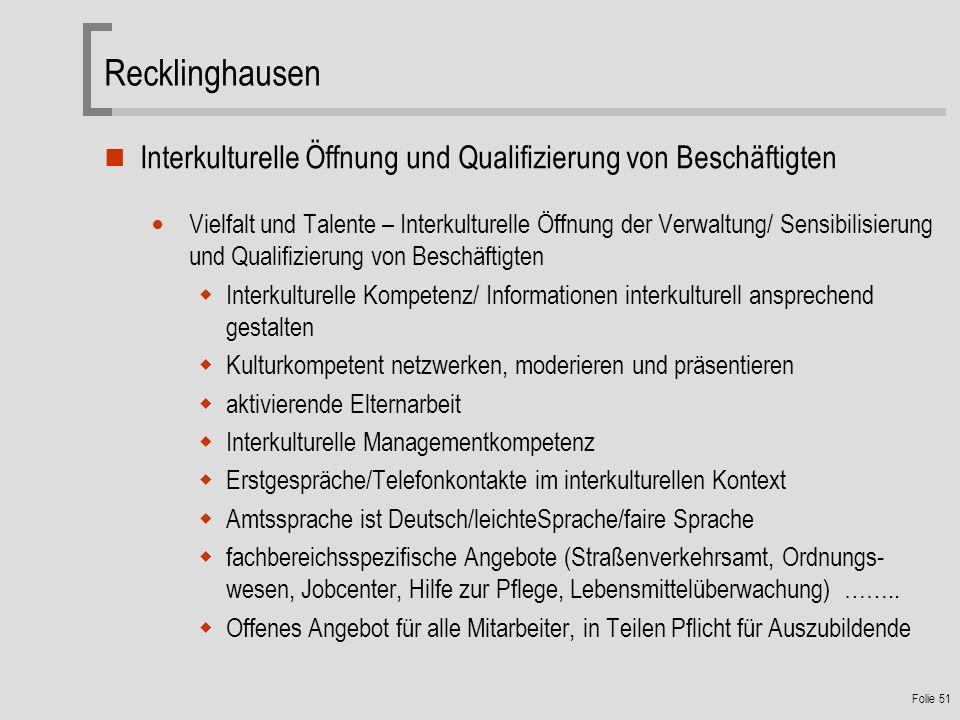 Recklinghausen Interkulturelle Öffnung und Qualifizierung von Beschäftigten.