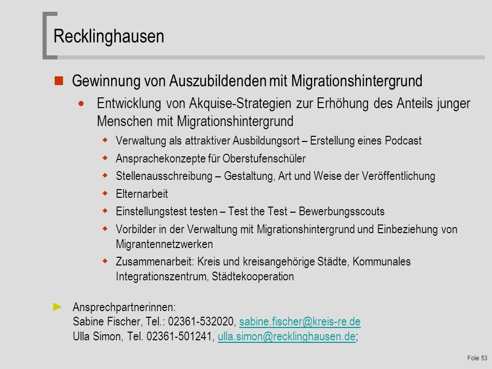 Recklinghausen Gewinnung von Auszubildenden mit Migrationshintergrund
