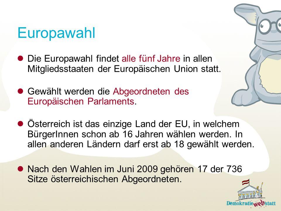 Europawahl Die Europawahl findet alle fünf Jahre in allen Mitgliedsstaaten der Europäischen Union statt.
