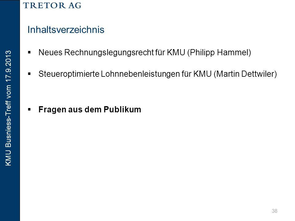 Inhaltsverzeichnis Neues Rechnungslegungsrecht für KMU (Philipp Hammel) Steueroptimierte Lohnnebenleistungen für KMU (Martin Dettwiler)