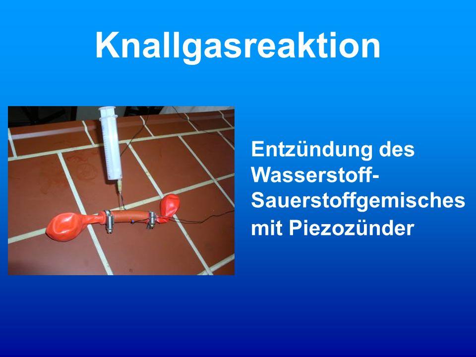 Knallgasreaktion Entzündung des Wasserstoff- Sauerstoffgemisches mit Piezozünder