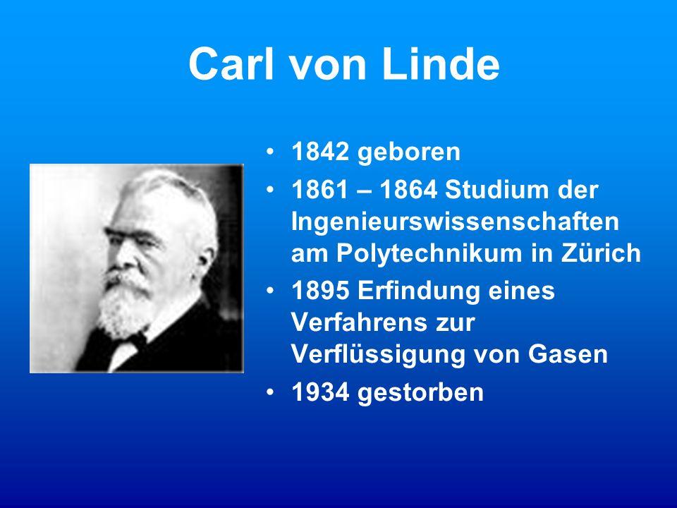 Carl von Linde 1842 geboren. 1861 – 1864 Studium der Ingenieurswissenschaften am Polytechnikum in Zürich.