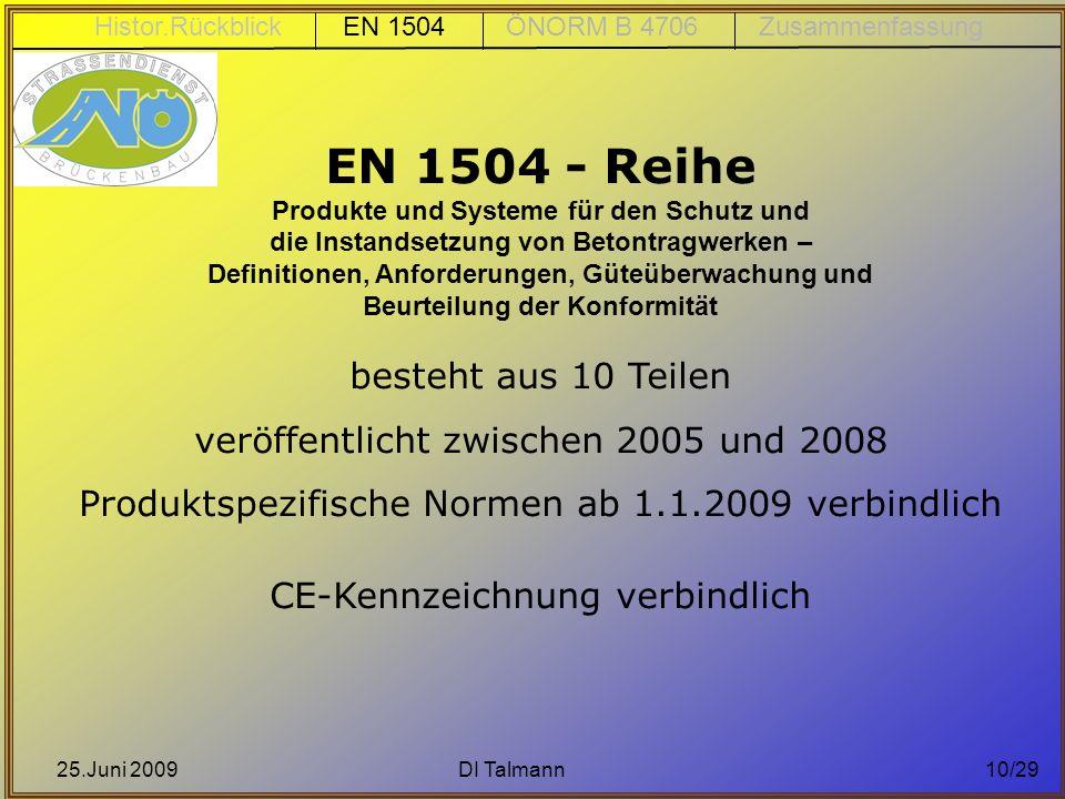 EN 1504 - Reihe veröffentlicht zwischen 2005 und 2008