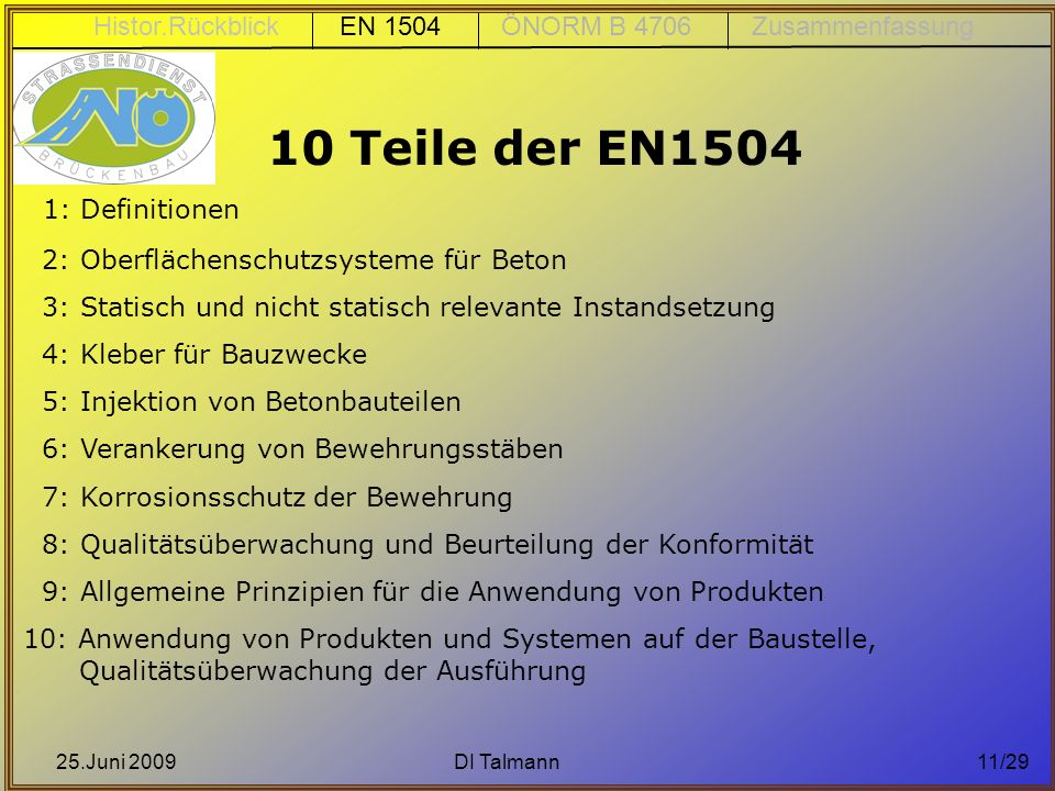 Histor.Rückblick EN 1504 ÖNORM B 4706 Zusammenfassung
