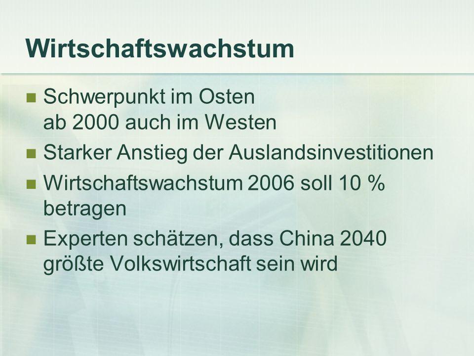 Wirtschaftswachstum Schwerpunkt im Osten ab 2000 auch im Westen