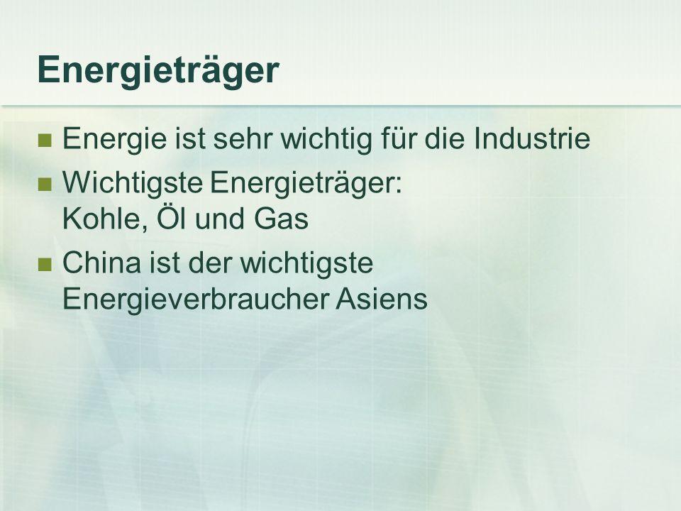 Energieträger Energie ist sehr wichtig für die Industrie